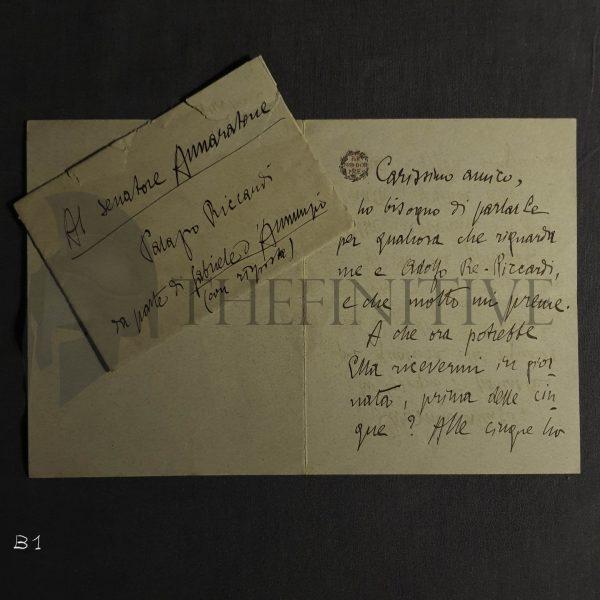 Gabriele d'Annunzio lettera Annaratone