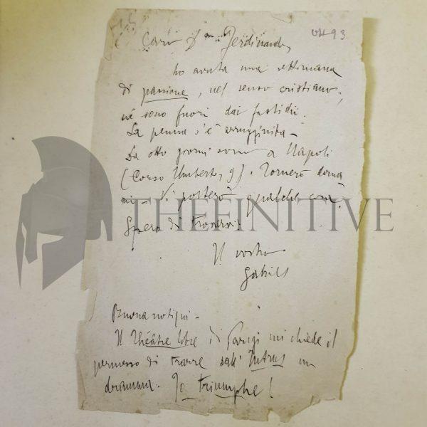 ITÀ D'ANNUNZIO BIDERI lettera 1893